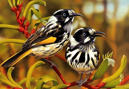 painting - painting, two, birds, reds