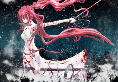Bloody Assasin - bloody, assasin, girl, anime, red hair, sword