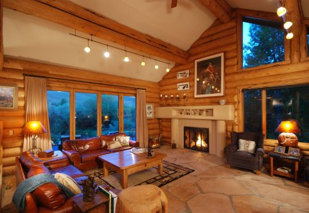 Lodge Style Winter Cabin Great Room