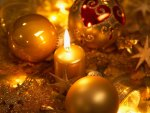 Golden Candle and Christmas Balls