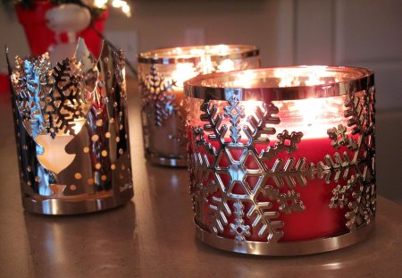 ๑♥๑ Christmas Candles ๑♥๑ - red, home, silver, hope, sleeves, love, forever, light, cozy, holiday, christmas, christmas trees, decor, candles, snowflakes, entertainment, fashion, faith