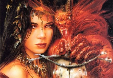 Luis Royo - fantasy women - red, fantasy, demon, beauty, women