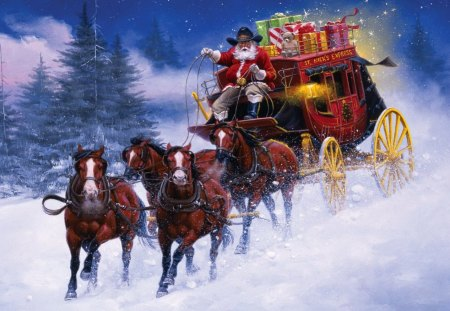 Santa's coming - pretty, children, beautiful, snowy, santa claus, mountain, nice, painting, arrival, deers, kids, blue, lovely, holiday, christmas, new year, sky, joy, trees, horses, snow, slope, gifts, coming