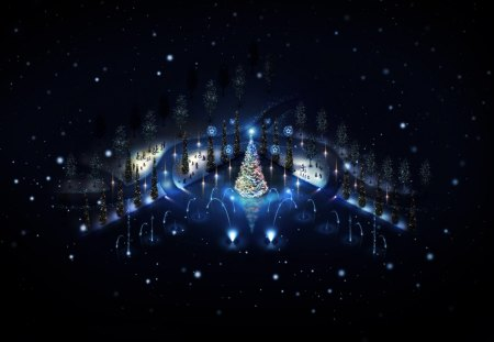Big Blue Christmas Tree - winter, christmas, blue, big, lights, holidays, trees