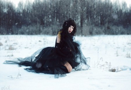 Gothic snow princess - gothic, snow, gown, people, princess, other