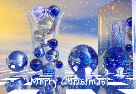 Surreal Christmas - sparkle, glass, bulbs, christmas, surreal, other, blue