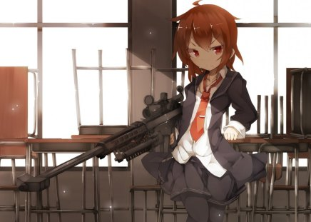 Mission Accomplished - class, cute girl, tie, sniper, weapon