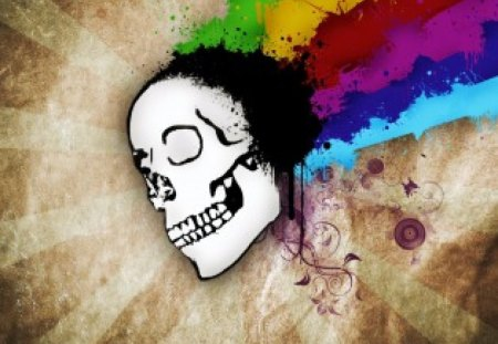Skullorful - red, yellow, rainbow, abstract, floral, grunge, green, purple, flowers, funny, skull, blue