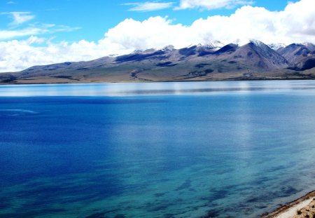 Lake Manasarovar and the Tibetan Himalayas. - lake, 108, mansarovar, purity, spiritual, holy, hindu, himalayas, lake kailash, blue, india, pilgrimage, water, mountains, tibet, buddhists, relegious