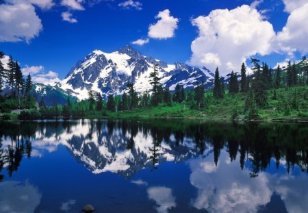 Beautiful-Mountain - mountain, hills, water, shadow, nature, trees, lake, landscape