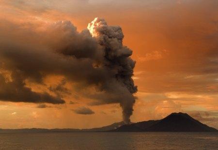 eruption of a coastal volacano - eruption, smoke, volcano, coast, sea