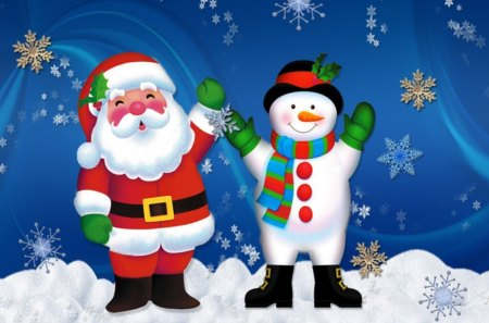 Merry christmas with snow - santa, holy, christmas, snow, snowman