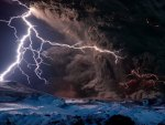 Volcano Eruption and Lightning
