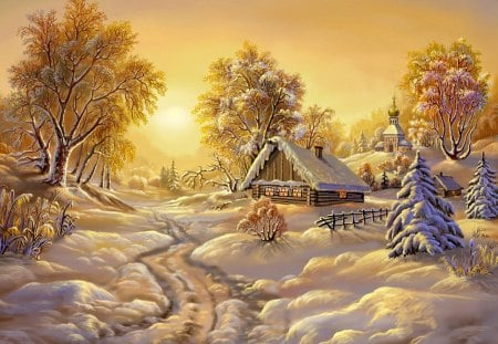 Winter morning - house, cottage, dazzling, dusk, shine, cabin, beautiful, sunset, snowy, countryside, mountain, nice, painting, bright, path, village, sunrise, morning, calmness, gloden, lovely, sunlight, sky, trees, winter, serenity, rays, snow, slope, peaceful
