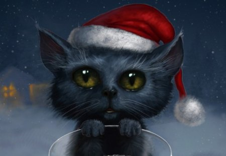 Christmas Cat 3d And Cg Abstract Background Wallpapers