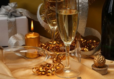 Christmas toast - toast, home, glasses, beautiful, lights, nice, cheers, new tear, reflection, candle, cozy, lovely, holiday, christmas, wine, golden, decoration, warmth, champagne, gifts