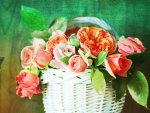 Flowers in white basket