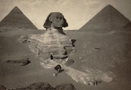 great pyramids - sphinx, pyramids, great, egypt, vintage