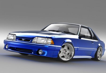 Fox-Body - wheels, blue, ford, mustang