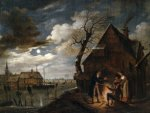 Aert van der Neer - Dutch Channel Landscape with Skaters and Fire