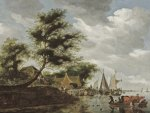 Salomon van Ruysdael - River Landscape with Ferry (1661)