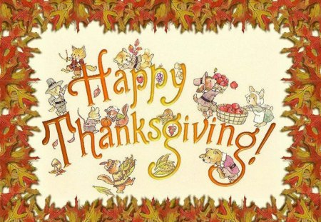 Happy Thanksgiving - corn, Fall, autumn, holiday, apples, thanksgiving, leaves, pumpkin, animals