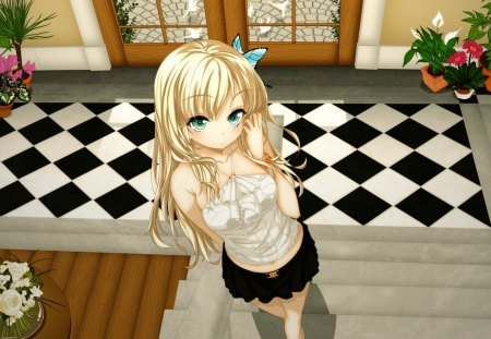Anime girl - red, house, interior, manga, black and white, stairs, blonde hair, cute, girl, green, anime, flower, blue eyes