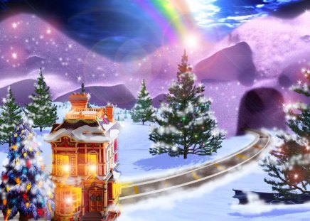 Winter Rainbow Other Abstract Background Wallpapers On