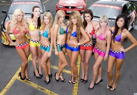 girls modeling with cars - cars, girls, models, modeling