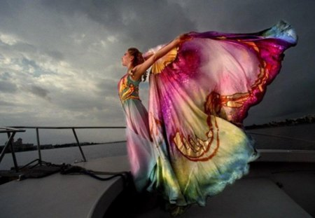 butterfly woman - dress, beauty, fantasy butterfly, woman, wind