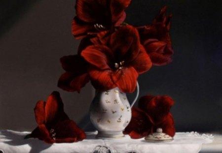 poinsettia - beauty, flowers, poinsettia, vase, red