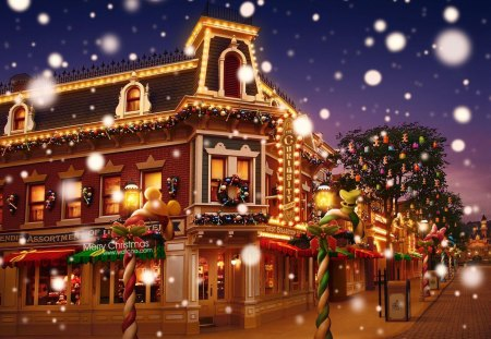 Christmas Town with Snowy Main Street - christmas, town, main, snowy, street
