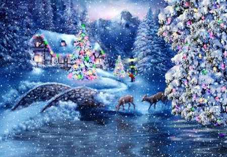 Winter river - house, cottage, cabin, lights, mountain, bridge, river, reflection, frost, forest, frizen, christmas, new year, sky, trees, winter, noel, snowing, snow, snowflakes, nature, branches