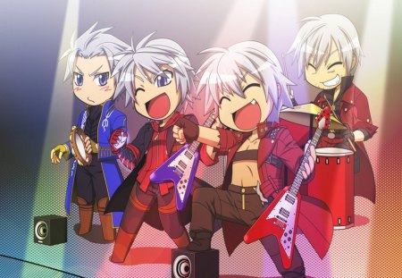 Vergil,Nero,Young Dante And Old Dante - colorful, white hair, nero, game, chibi, lights, short hair, vergil, boys, cool, young dante and old dante, dmc