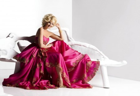๑♥๑ Electric Pink Lady๑♥๑ - wonderful, christmas, blonde, beautiful, white bench, special evening, smile, elegant, happy, electric pink, entertainment, love, forever, fashion, lady