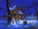 Lonely snowman in winter night