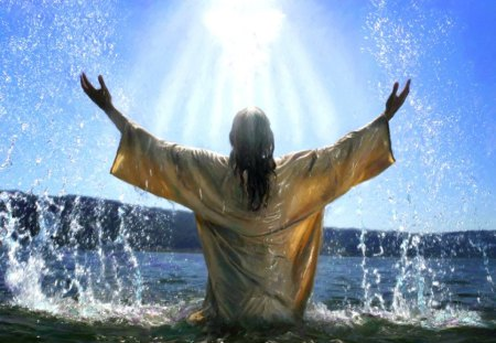 Jesus calling God - rising, religious, sunbeam, jesus, water, christian