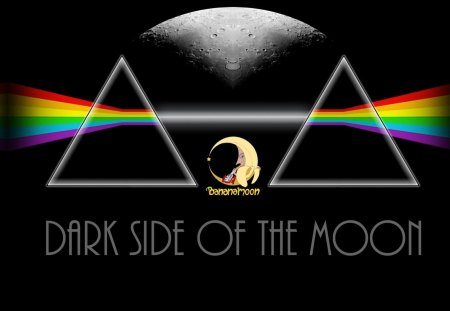 DARK SIDE OF THE MOON - music, space, rainbow, moon, dark, seventies, photoshop, pink, pink floyd, album