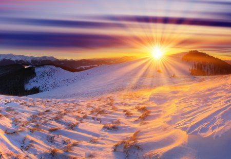 Winter Sun - sun, beautiful, sunset, magic, clouds, snowy, magic winter, splendor, beauty, sunrise, winter sunset, hill, winter sun, amazing, hills, lovely, view, sunlight, winter time, sky, trees, winter splendor, winter, tree, sunrays, rays, snow, mountains, snowflakes, peaceful, nature, landscape