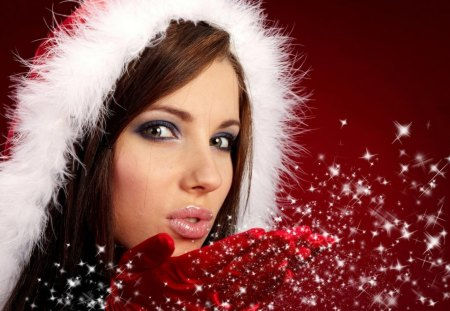 Red Xmas Modle - red, hood, female, snow, lady, woman, hat