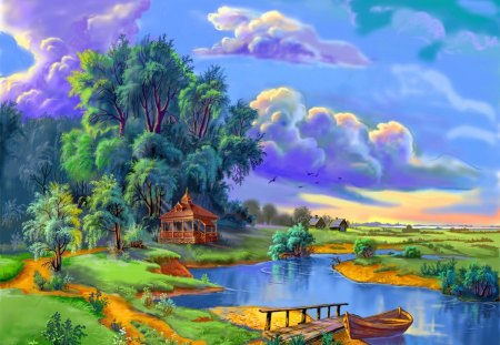 Gazebo near small river - stream, colorful, riverbank, shore, cottage, clouds, countryside, calm, boat, dock, painting, path, village, river, reflection, art, rest, seat, houses, pier, relax, greenery, creek, sky, trees, water, serenity, peaceful, summer, walk, gazebo