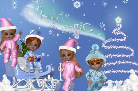 Winter Kids - christmas, snow, x-mas, kids, winter