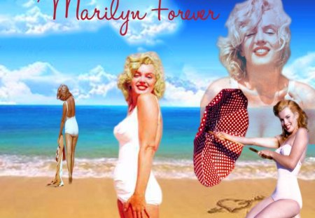 Marilyn Forever - beach, water, paradise, actress, beautiful, marilyn monroe, vintage, icon