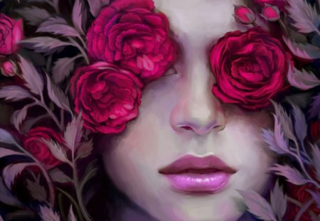Blind Roses - red, female, face, roses, lips, woman