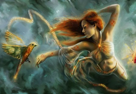 Girl and Bird - fantasy, fly, bird, girl, sky, woman