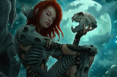 Bone Armor - armor, moon, redhead, bone, bones, woman, night