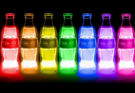 Cola Laser Lights - cola, green, soda, pop, yellow, colors, rainbow, bottles