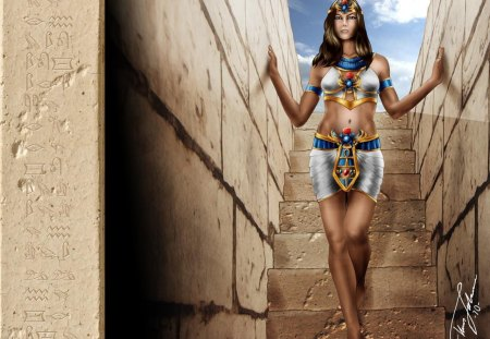 Pharo's Bride - royal, fantasy, sand, walls, hot, woman, egypt