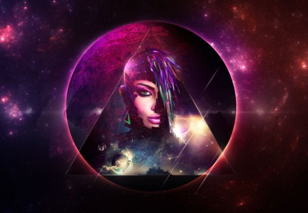 SPACE WARRIOR I - woman, photoshop, planet, purple, space