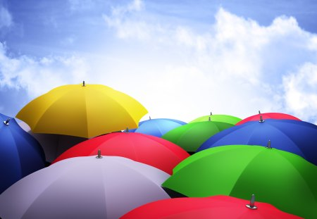 Colorful Umbrellas - umbrellas, pretty, colorful, lovely, umbrella, colors, beautiful, sky, clouds, photography, colorful umbrellas, beauty, nature